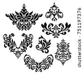 set of detailed ornaments....   Shutterstock .eps vector #751197376