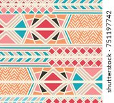 tribal ethnic colorful bohemian ... | Shutterstock .eps vector #751197742