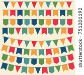 bunting flags  colorful party... | Shutterstock .eps vector #751201192