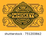 western design. whiskey label. | Shutterstock .eps vector #751203862