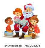 santa claus with kids reading... | Shutterstock .eps vector #751205275