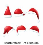 collection of red santa hats.... | Shutterstock .eps vector #751206886