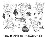 vector set of  cartoon... | Shutterstock .eps vector #751209415