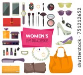 set of fashion accessories.... | Shutterstock .eps vector #751212652