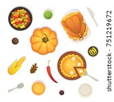 thanksgiving dish menu top view ... | Shutterstock .eps vector #751219672