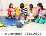 group of mothers with their... | Shutterstock . vector #751219828