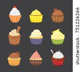 set of cute cupcakes and