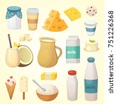 fresh organic milk products set ... | Shutterstock . vector #751226368