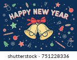 happy new year. greeting card... | Shutterstock .eps vector #751228336