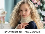 portrait of beautiful little... | Shutterstock . vector #751230436