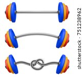 set of gym barbell isolated.... | Shutterstock .eps vector #751238962