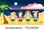 hawaiian dance. | Shutterstock .eps vector #75124294