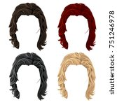 set of men cartoon long hair in ... | Shutterstock .eps vector #751246978