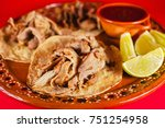 mexican tacos and red sauce is...   Shutterstock . vector #751254958