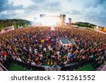 madrid   jun 24  the crowd in a ... | Shutterstock . vector #751261552