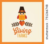 happy thanksgiving day card ... | Shutterstock .eps vector #751266748