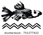 Painted Fish Icon With Zig Zag...