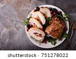 roasted pork loin stuffed with... | Shutterstock . vector #751278022