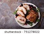 roasted pork loin stuffed with... | Shutterstock . vector #751278022