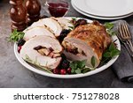roasted pork loin stuffed with... | Shutterstock . vector #751278028