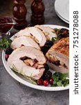 roasted pork loin stuffed with... | Shutterstock . vector #751278088