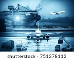 airplane shipping delivery... | Shutterstock . vector #751278112