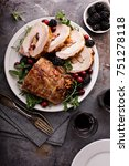 roasted pork loin stuffed with... | Shutterstock . vector #751278118