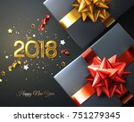 2018. happy new year. gift box... | Shutterstock .eps vector #751279345