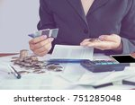 business woman hand... | Shutterstock . vector #751285048