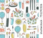 hand darwn vector cosmetic... | Shutterstock .eps vector #751292326