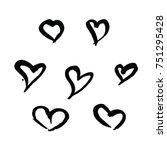 handrawing heart with brush... | Shutterstock .eps vector #751295428