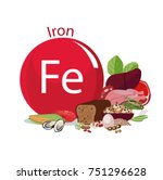 iron. food sources . eating ... | Shutterstock .eps vector #751296628