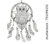 dreamcatcher. owl. tattoo art ... | Shutterstock .eps vector #751298152
