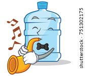 with trumpet gallon character... | Shutterstock .eps vector #751302175