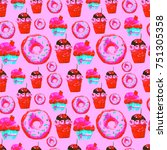 sweet seamless pattern with... | Shutterstock . vector #751305358