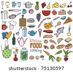 food and cooking color icons...