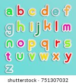 colorful alphabet text in paper ... | Shutterstock .eps vector #751307032