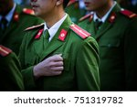 soldier with green uniform... | Shutterstock . vector #751319782