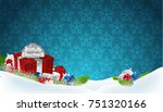 blue christmas background with... | Shutterstock .eps vector #751320166