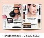 cosmetic magazine template ... | Shutterstock .eps vector #751325662