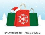 shopping bags with christmas... | Shutterstock .eps vector #751334212