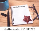 new year resolutions list in... | Shutterstock . vector #751335292