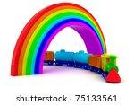 Toy train under rainbow bridge - stock photo