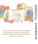invitation with floral... | Shutterstock . vector #751336642