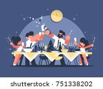 friends celebrate new year at... | Shutterstock .eps vector #751338202