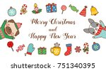merry christmas and happy new... | Shutterstock .eps vector #751340395