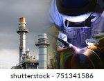 the abstract scene of welding... | Shutterstock . vector #751341586
