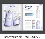 cosmetic magazine template ... | Shutterstock .eps vector #751353772