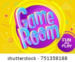 game room vector banner in... | Shutterstock .eps vector #751358188