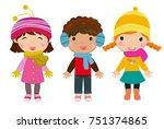 little kids wearing winter... | Shutterstock .eps vector #751374865